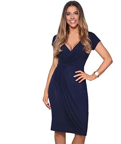 KRISP Vestido Moda Mujer Fruncido, Azul Marino (6678), 36, 6678-NVY-08
