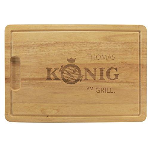 Holzbrett – König am Grill mit Name: hochwertiges Grillbrett personalisiert mit Wunschname – Holz Schneidebrett zum Grillen I BBQ Grillbrett mit Gravur