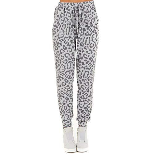 Pantalon Large Femme Grande Taille Pas Cher LuckyGirls 2020 Chic Femme été Taille Haute Pantalon élastique Femme Robe élégante Sport Yoga léopard