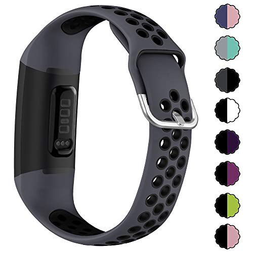 EZCO Sport Bands Compatible with Fitbit Charge 4 / Charge 3, Soft Silicone Waterproof Breathable Watch Strap Replacement Wristband Accessories Women Man for Charge 3 SE Smart Watch