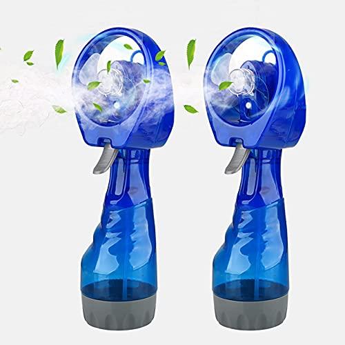 KSSPNL Ventilador De Nebulización Azul, Ventilador Personal De Nebulización De Mano Portátil Que Funciona con Pilas para Uso En Climas Cálidos (Paquete De 2)
