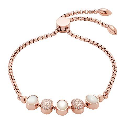Jewels by Leonardo Damen-Armband Lorella, Edelstahl IP roségold mit Perlmutt-Cabochon und klaren Zirkoniasteinchen, Länge 230 mm, 016791