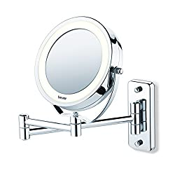 2-in-1 swivelling illuminated cosmetics mirror (wall mounted or stand alone) Normal and 5 x magnification Normal and 5 x magnification Bright LED light High quality chrome finish