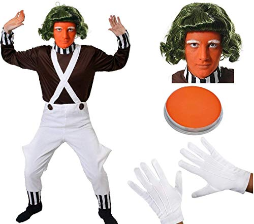 ADULTS CHOCOLATE FACTORY WORKER FANCY DRESS COSTUME BOOK WEEK CHARACTER BROWN TOP + WHITE DUNGAREES + WIG + GLOVES + EYEBROWS + FACEPAINT UNISEX - COMPLETE COSTUME WITH ALL ACCESSORIES (LARGE)