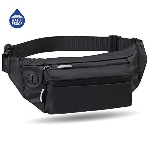 Baonuor Heuptas voor dames en heren, zwart, 3 liter, waterdicht, met hoofdtelefoonaansluiting, omhangtas, portemonnee, voor camping, wandelen, fitness