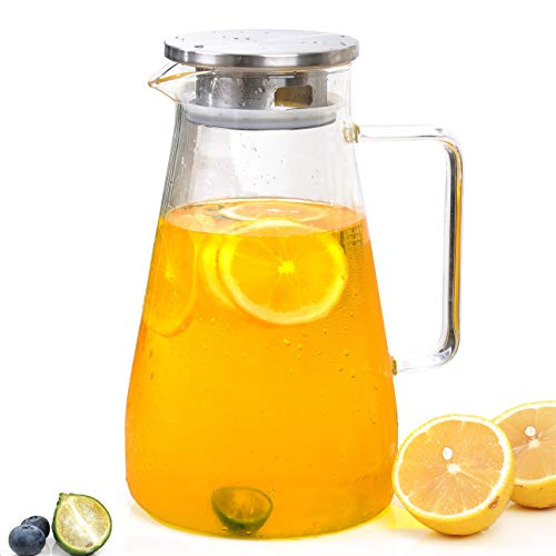 61 Ounces Glass Pitcher with Lid Spout and Sturdy Handle for Sun Tea Lemonade Juice Wine Milk Coffee Hot/Cold Water and More