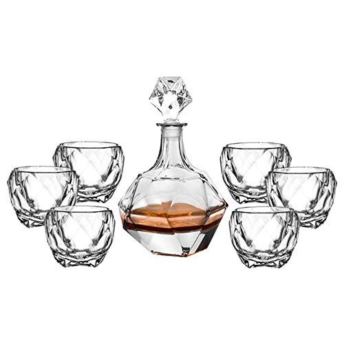 Fndjfjf 7-Piece Crystal Whiskey Decanter Set, Whiskey Decanter and 6 Rocks Whiskey Glasses, Made from Lead Free Glass for Spirits, Bourbon Or Scotch, Best Gifts for Father & Husband,#1025