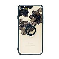 iphone8 ケース リング付き 花柄 iphone 7 ケース ソフト シリコン かわいい おしゃれ iPhone 8 ケース リング 回転 tpu スマホケース iphone7 リング付ケース フラワー 人気 iPhone7/8,ブラック/小花