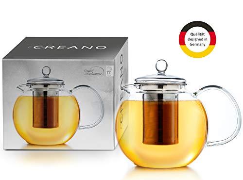 Creano Glas-Teekanne 1,7l 3-teiliger Teebereiter mit integriertem Edelstahl-Sieb und Glas-Deckel, ideal zur Zubereitung von losen Tees, tropffrei, All-in-one