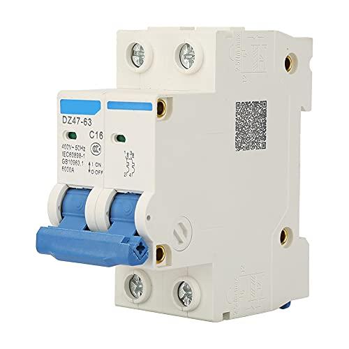 Disyuntor en miniatura DZ47-63 2 P Mini disyuntor Interruptor de corte de panel de doble polo Disyuntor 400VAC(16A)