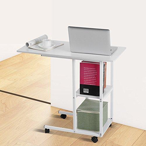 Beweglicher Laptoptisch Rolltisch Über Bett Tisch Sofa Beistelltisch Weiß