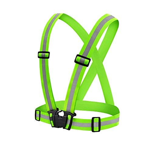 Yue Reflektierend Weste Einstellbar Hohe Sichtbarkeit Sicherheit Weste mit Reflektierenden Streifen, Leicht Atmungsaktiv Sichere Ausrüstung für Nacht Laufen, Joggen, Konstruktion (Neon Grün)