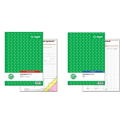 SIGEL SD063 Bautagebuch A4, 3x40 Blatt, selbstdurchschreibend & Aufmaßbuch, mit Blaupapier, DIN A4, 50 Blatt