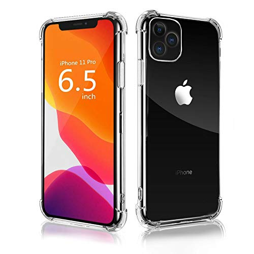 DORONO iPhone 11 Clear Case [Pro Max] CASE with Glass Screen Protector Crystal Clear Case Designed for Apple iPhone 11 Pro Max 6.5 inch [Protects Camera Lens]