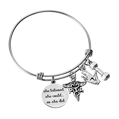 Miss Pink PTA Physical Therapist Assistant Gifts Adjustable Bangle Charm Bracelet Graduation Birthday Christmas Jewelry for Women