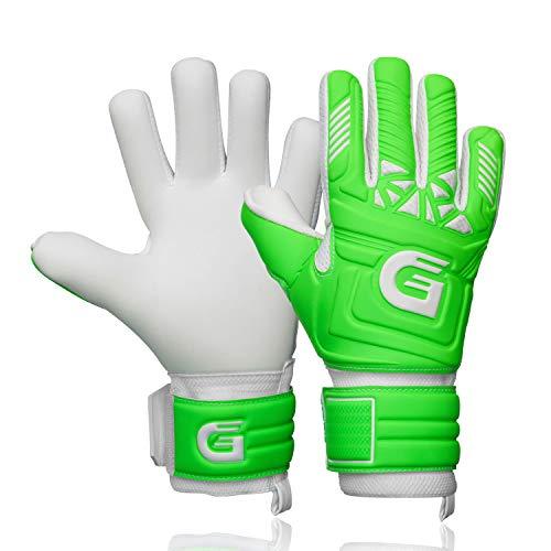 GUARDY - Gants de gardien de but pour enfants – Gants de gardien de but durables pour enfants – Gants de gardien de but avec adhérence extra forte (vert avec protège-doigts, 5)