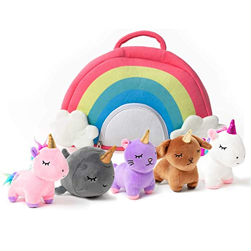 PixieCrush Unicorn Toys Stuffed Animal Gift Plush Set with Rainbow Case – 5 Piece Stuffed Animals with 2 Unicorns, Kitty, Puppy, and Narwhal – Toddler Gifts for Girls Aged 3, 4, 5 ,6 ,7, 8 yr olds