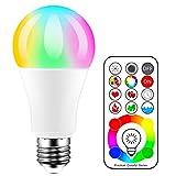 iLC LED Ampoules de couleur, équivalente 70W, Edison Changement de Couleur Ampoule RGB+Blanc Dimmable - 120 Choix de Couleur - 10Watt E27 RGBW - 2 Modes Dynamiques - Télécommande Compris