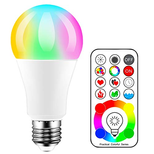 Bombillas LED de color iLC, equivalente a 70 W, bombilla que cambia de color Edison RGB + blanco regulable - 120 opciones de color - 10 W E27 RGBW - 2 modos dinámicos - Control remoto incluido