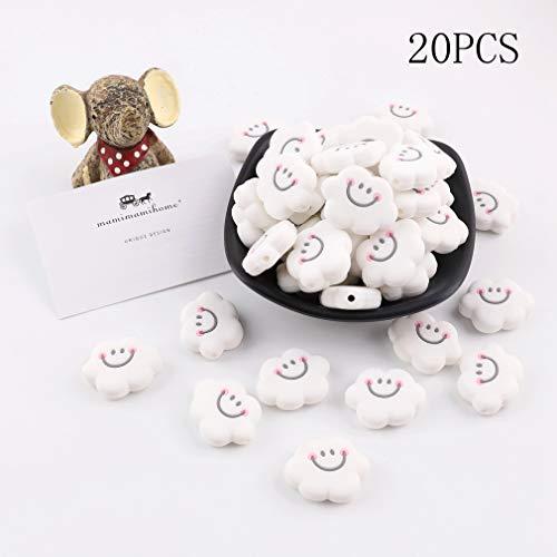 BINGMAX Lot de 20 anneaux de dentition pour b/éb/é en silicone avec perles pour enfants Wei/ß