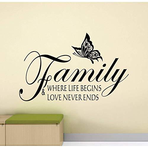 Pegatina de pared con texto en inglés 'Family Where Life Begins And Love Never Ends