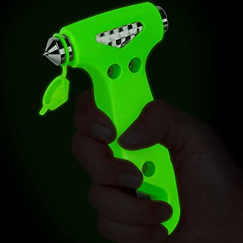 THINKWORK 6-in-1 Car Safety Hammer (Glow-in-Dark), Emergency Escape Tool with Window Breaker and Seat Belt Cutter for First Responders and Roadside Safety Kits, Life-Saving Hammer Gift for Family