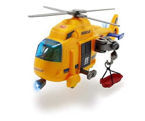 Dickie Toys Rettungshelikopter, Spielzeug-Helikopter, manuelle Seilwinde, drehender Rotor inkl. Trage, Licht & Sound, Batterien enthalten, 18 cm, ab 3 Jahren