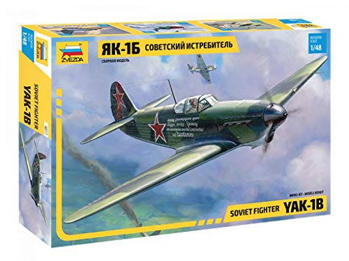 Zvezda 500784817 500784817-1:48 YAK-1B Soviet Fighter - Maqueta de plástico para Principiantes, Color Verde Oliva y Negro