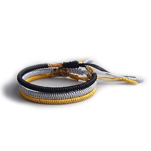 Exinox Tibetaanse knooparmband voor mannen en vrouwen, traditionele spirituele boeddhistische armband, 3 stuks