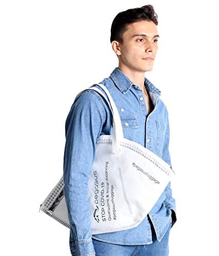 Pegasus New Normal White Tote Bag for Women (L) Unique One & Only Design Reusable Multipurpose for Shopping & Grocery Bags, Protects Your Belongings with Multiple Zippers Pockets & Canvas 60oz