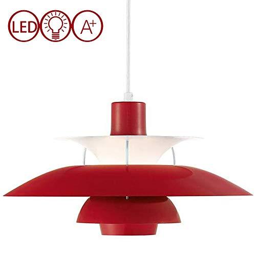JXWANG PH5 Pendelleuchte,Nordic Einfache LED Kronleuchter Dänische Designer Pendelleuchte Bunte Regenschirm Esszimmer Bar Single Lounge Lampen -Rot (30CM / 40CM / 50CM),Red-50CM