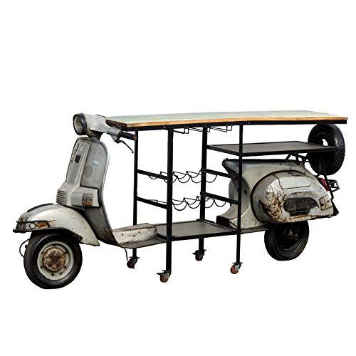Design Deluxe Scooter minibar, echt vintage scooter, barconsole van circa 204 x 130 x 64 cm (h x l x b). Barkast voor in de scooter in shabby stijl, barkast met wijnrek. Grijstinten lang