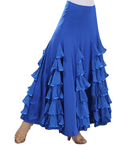 Mujer Gasa Largo Falda de Gypsy Tribal Danza del Vientre Elástica Profesional Oriental árabe Talla única Azul Zafiro