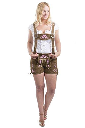 Dames klederdracht lederen broek Emma kort bruin of roze – klederdrachtbroek hotpants lederen broek incl. bretels.