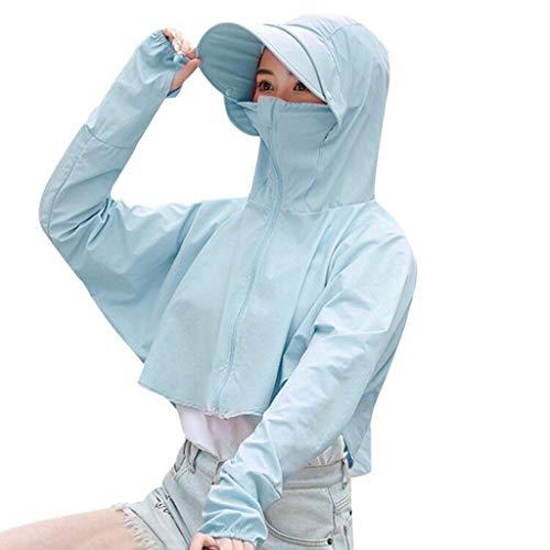 Goosuny Damen Sommerjacken Sonnenschutz Kapuzenmantel Anti-Uv Sportliche Jacke Sommer Atmungsaktiv Radfahren Kurze Damenjacke Outdoor Kleidung