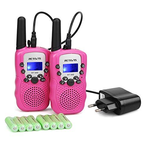 Retevis RT388R Walkie Talkie Niños Recargable PMR446 8 Canales 10 Tonos de Llamada Linterna LED VOX Walkie Talkie Juguete con Cargador y baterías Recargables (Rosa,1 Par)