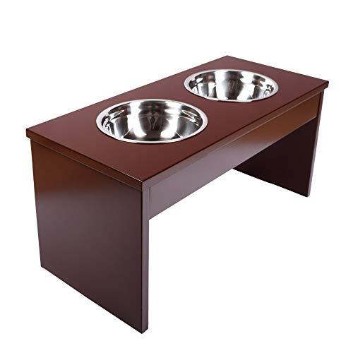 Schramm® Futterstation aus Holz und 2 Edelstahlnäpfen 750ml in 2 Größen Futterbar Fressnapf Doppelnapf für Hunde und Katzen, Größe:53 x 25 x 26 cm