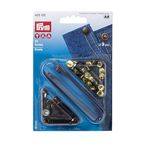 Prym 403102 Nieten Messing 9 mm altkupfer/brüniert, Metal