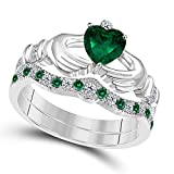 DS Jewels 14k Gold Plated Alloy Claddagh Bridal Set Ring 1.00 ctw Heart Cut CZ Green-Emerald & Cubic Zirconia Curved Wedding Band & Crown Engagement Ring Size 4 to 11
