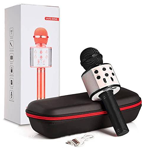 MAGIC SELECT Micrófono Karaoke con Altavoz Bluetooth, Botón Selfie, Grabador de Voz con Tarjeta SD, Efectos de Voz y Eco, Control Remoto, para niños y Fiestas, Compatible Android/iOS PC TV (Negro)