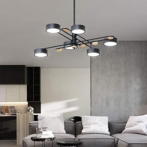 Araña - Luces Colgantes Ajustables de Madera de Hierro nórdico Lámpara de acrílico Creativa Simple Moderna para Sala de Estar Comedor Dormitorio, 6 * SMD, 120 * 52CM Happy House