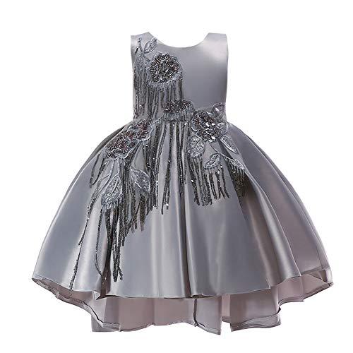 LPATTERN Kinder Mädchen Festkleid- Pailletten A-Linie Schößchen Kleid mit Stickerei, Silber/Grau,...