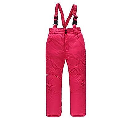 Bomden Ski Pants Boys Girls Winter Classic Insulated Snow Bib Ski Pant Snowsuit Pants Pink