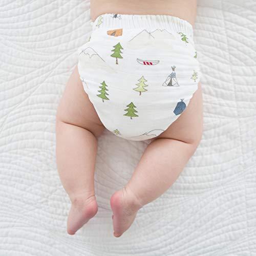 SmartNappy Cotton Muslin by Amazing Baby, NextGen Hybrid Cloth Diaper Cover + 1 Bi-fold Reusable Insert + 1 Reusable Booster, Outdoor Adventure, Size 1, 5-10 lbs