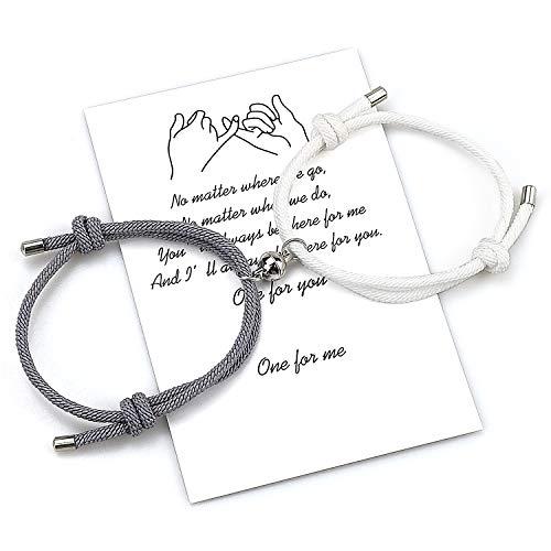 Juego de pulseras magnéticas personalizadas para parejas Cuerda hecha a mano de atracción mutua para 2 pulseras trenzadas a juego Votos de amor eterno Regalo de joyería (Gris blanco)