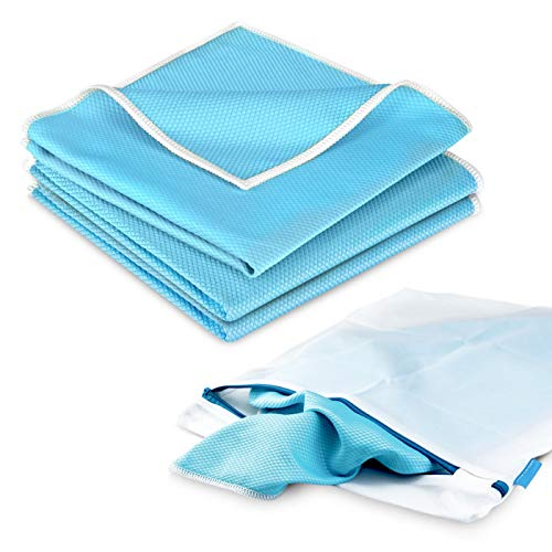 POLYCLEAN 3x Koi-Tuch für Glas, Scheiben und Edelstahl - leistungsstarkes Fenstertuch (40 x 40 cm, blau, 3 Stück) – Scheibentuch inklusive 1x gratis Wäschesack (38 x 30 cm)