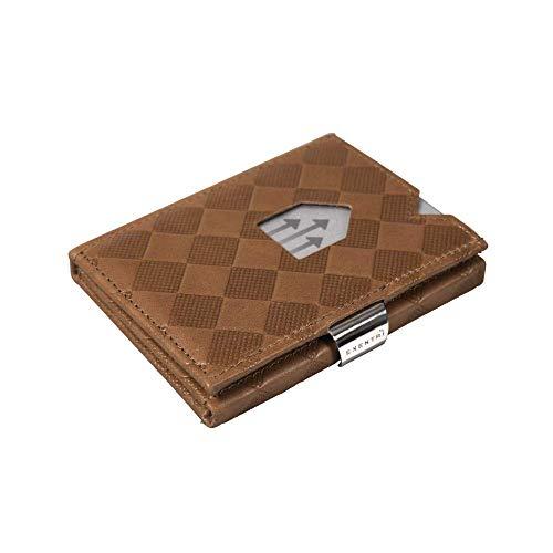 Exentri EXENTRI Leder Dreifachgefaltete Brieftasche aus Chess - RFID- Schutz mit Verschlussclip aus Edelstahl
