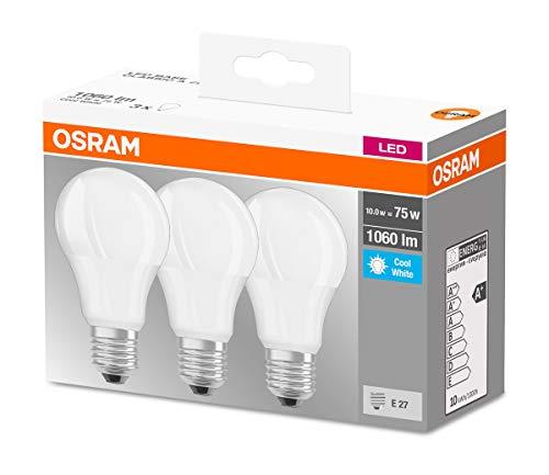 Osram LED Base Classic A Lampe, in Kolbenform mit E27-Sockel, nicht dimmbar, Ersetzt 75 Watt, Matt, Kaltweiß - 4000 Kelvin, 3er-Pack
