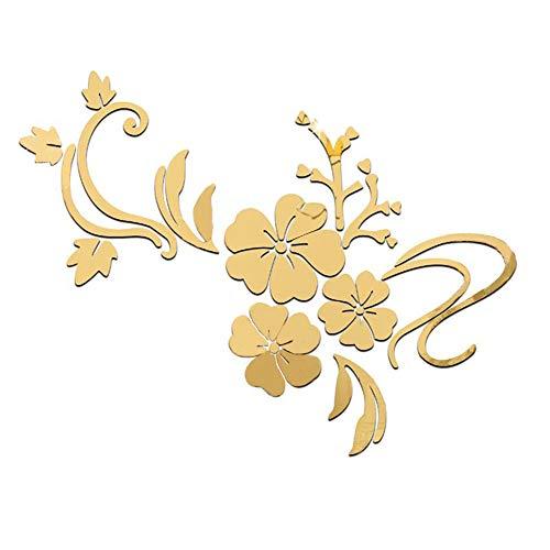 Adesivi murali 3D Adesivi specchio Effetto fiori per la decorazione della parete, Piastrelle specchio in lamina d'oro autoadesivi specchio da parete Murales per camera da letto Soggiorno Bagno