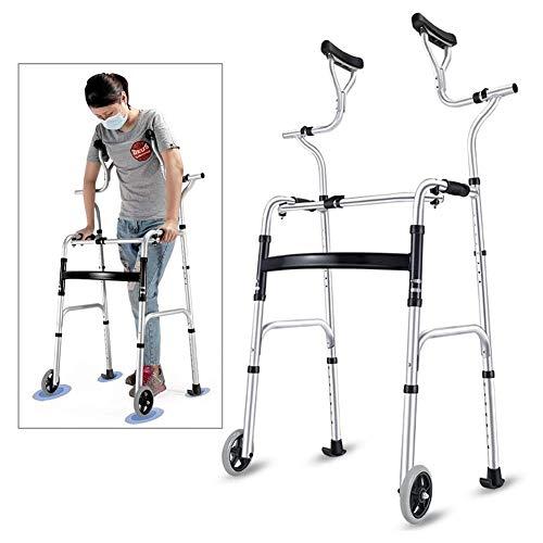 Rollator Gehhilfen Senioren Rollator Walker, mit Sitz & Rädern & Achselstütze, Zusammenklappbarer Tragbarer Step Assist, Walker Gleitet, Rolling Walker für Erwachsene, Last 180kg (Size : 2 Wheels)